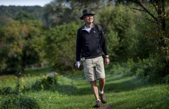 Stig Hansen enjoying a trail walk in the sunshine