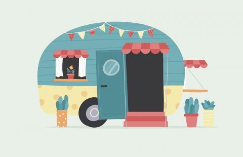 Cartoon image of camper