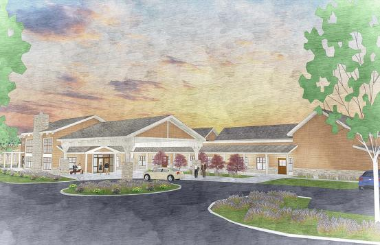 An artist's illustration of the Jack Byrne Center for Palliative and Hospice Care