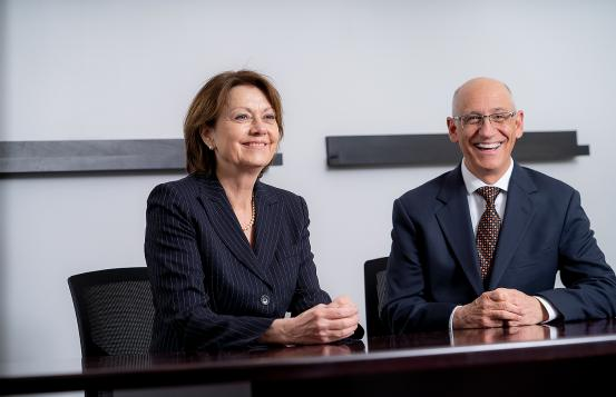 Dartmouth-Hitchcock Health CEO and President Joanne Conroy, MD (left) and GraniteOne Health CEO Joseph Pepe, MD (right)