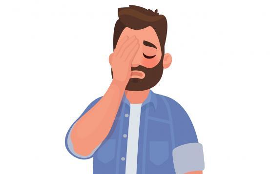 Illustration of man with headache