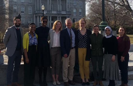 Steve Boyle with residents and medical students outside at NH Advocacy Day.