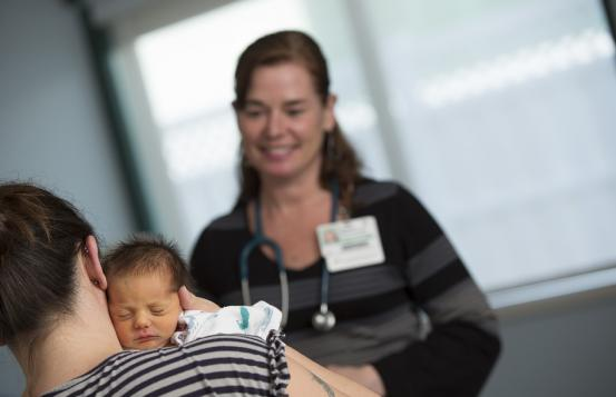 Bonny Whalen, MD, with patient and her baby.