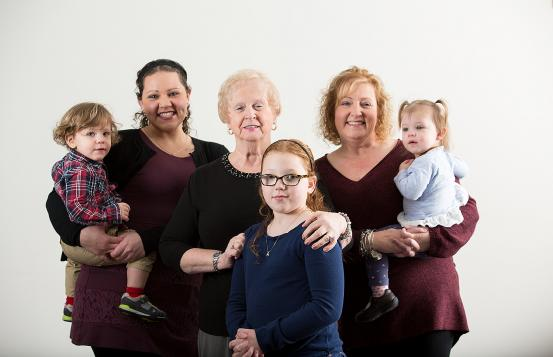 Four generations of the Dionne family: Pauline, Christine, Cassandra, Olivia, Ellarie and Keegan