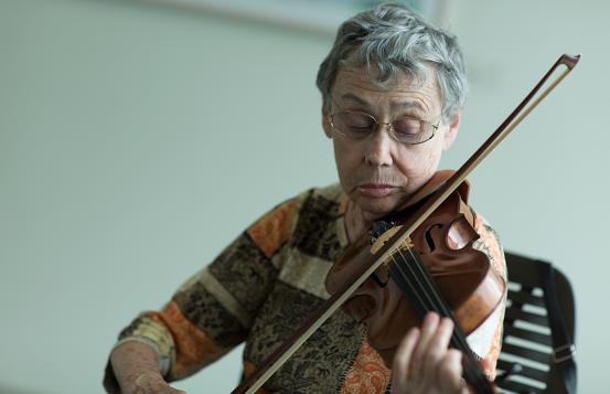 Rose Lander with her violin