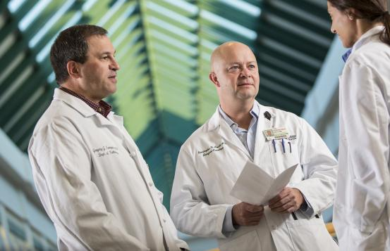Gregory Tsongalis, PhD, left, and Kerrington Smith, MD, right, two of NCCC's leading pancreatic cancer research experts.