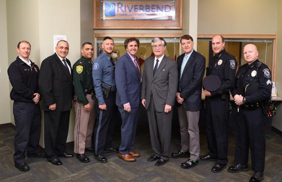 Photo of chiefs of police with John Broderick and Tom Raffio