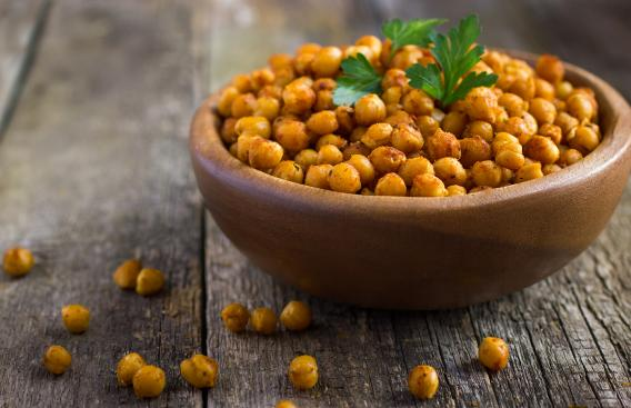 Bowl of roasted chickpeas.
