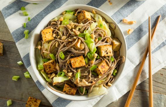 bowl of noodles with tofu