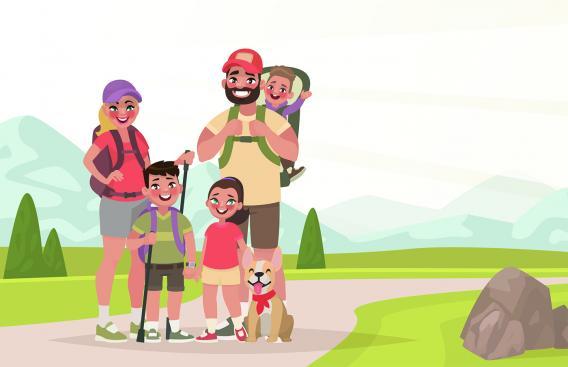 Cartoon image of family hiking