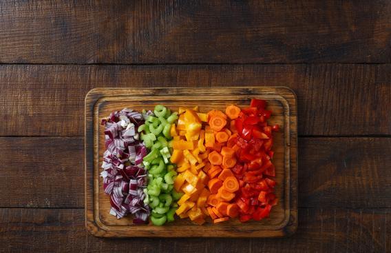 Platter of cut vegetables