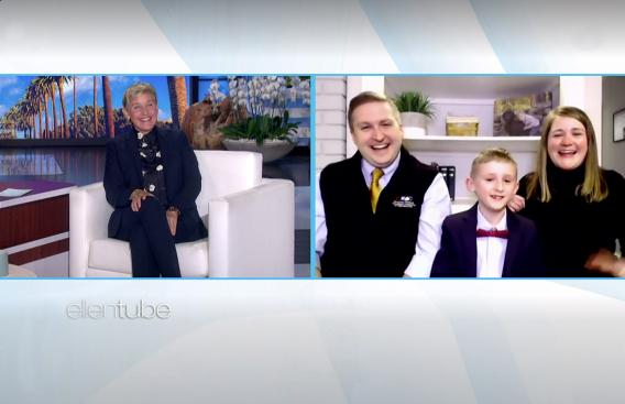 Elliot Perry and parents on Ellen DeGeneres Show