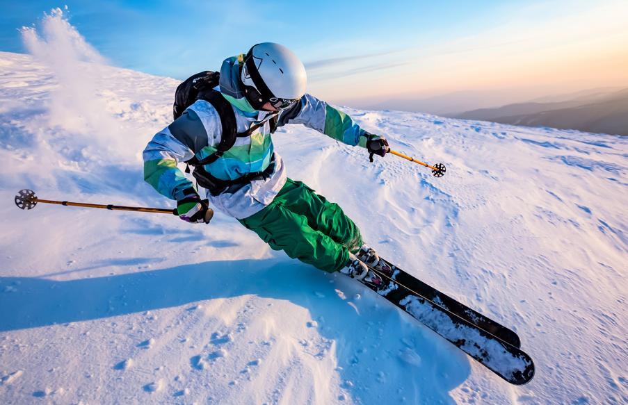 Skier wearing a helmet
