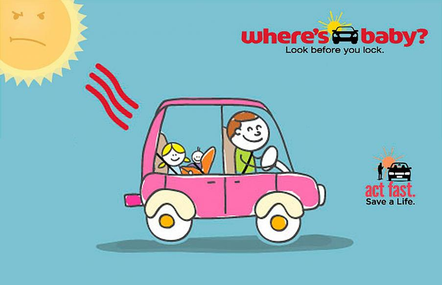 Cartoon drawing of a family in a car with the sun shining on them.